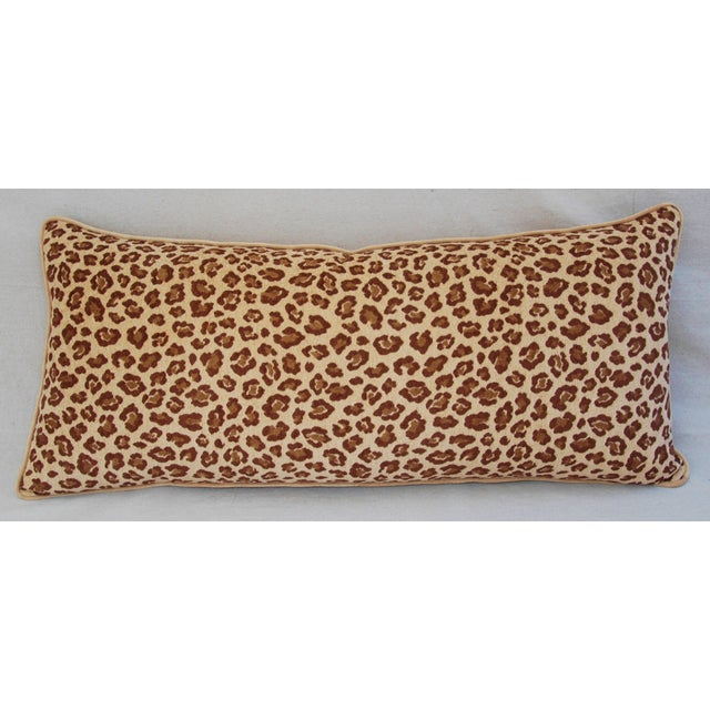 """Hollywood Regency Leopard Velvet Lumbar Body Feather/Down Pillow 38"""" x 17"""" For Sale - Image 3 of 10"""