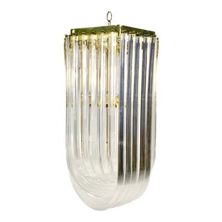 Mid Century Modern Lucite & Brass Loop Chandelier For Sale