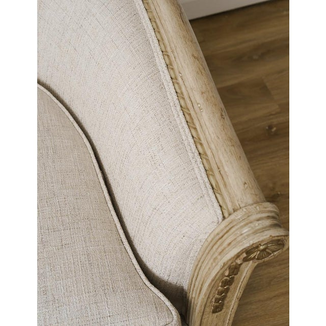 Antique French Provincial Linen Cabriole Sofa With Pillows For Sale In New York - Image 6 of 10