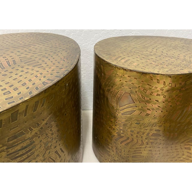 """Pair of Pilino Parker Etched Bronze """"Yin Yang"""" Nesting Side Tables C.1988 For Sale In San Francisco - Image 6 of 12"""