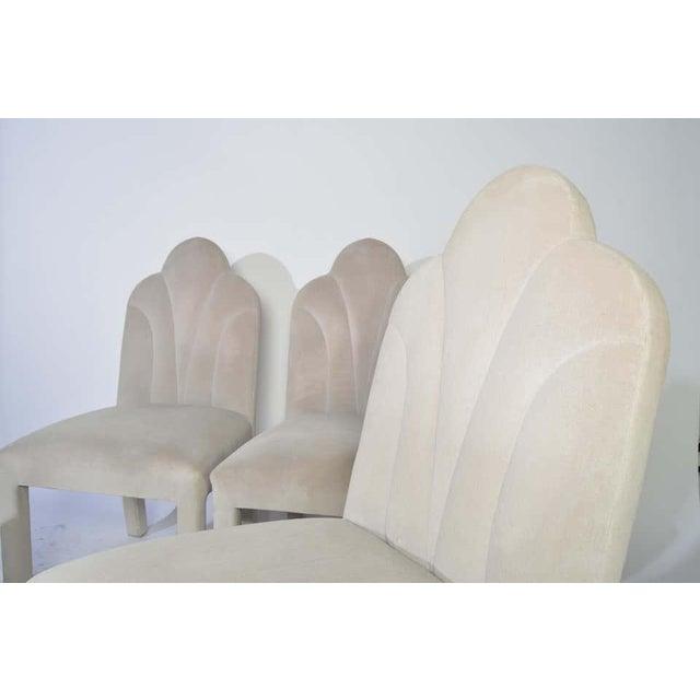 Art Deco Revival Hollywood Regency Dining Chairs in Soft Velvet For Sale - Image 4 of 11