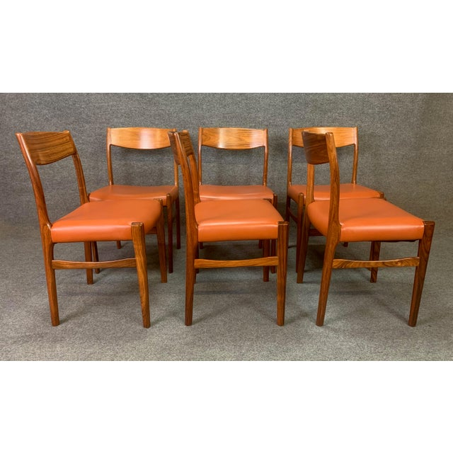 1960s Set of Six Vintage Danish Mid Century Modern Rosewood and Leather Dining Chairs For Sale - Image 5 of 13