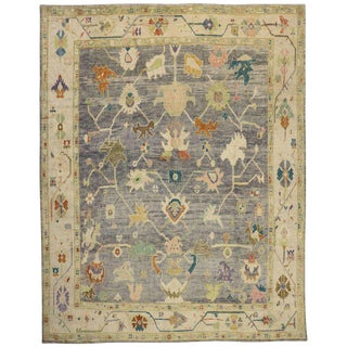 New Contemporary Turkish Colorful Pastel Oushak Area Rug , 12'02 X 15'05 For Sale