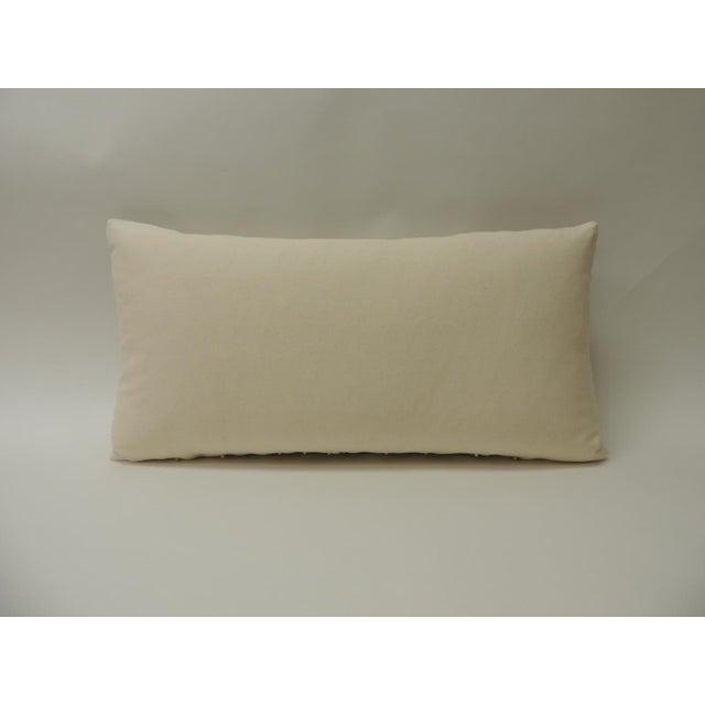 Vintage Linen Bolster Decorative Pillow With Vintage Jute Trims For Sale - Image 4 of 5