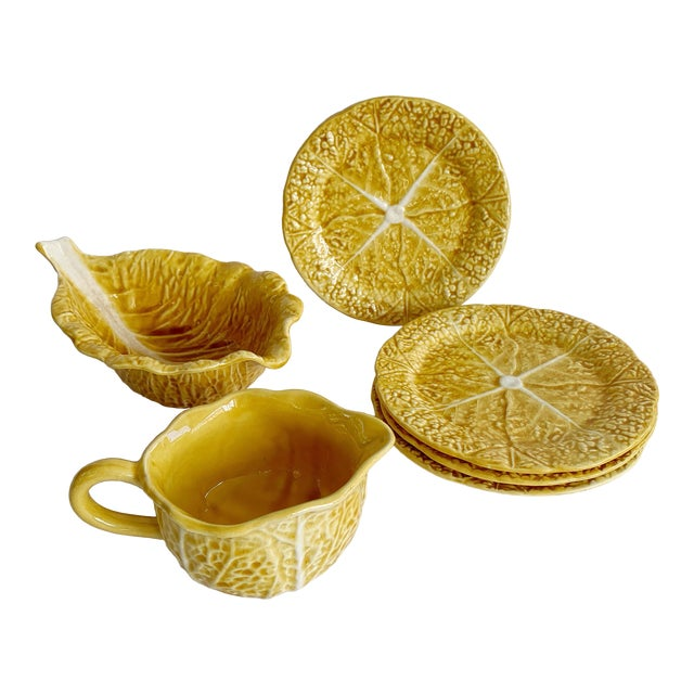 Vintage Majolica Secla Portugal Yellow Mustard Cabbage Dishes - Set of 6 For Sale