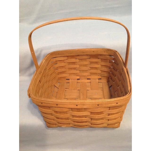 Americana 1970s Vintage Longaberger Handwoven Square Basket For Sale - Image 3 of 12