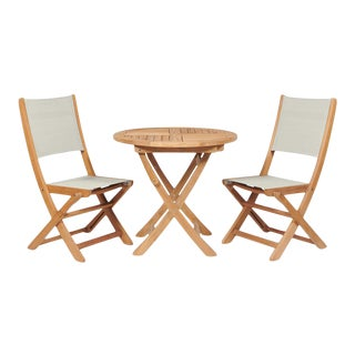 Stella 3-Piece Teak Outdoor Round Folding Table and Chair Bistro Set in White For Sale
