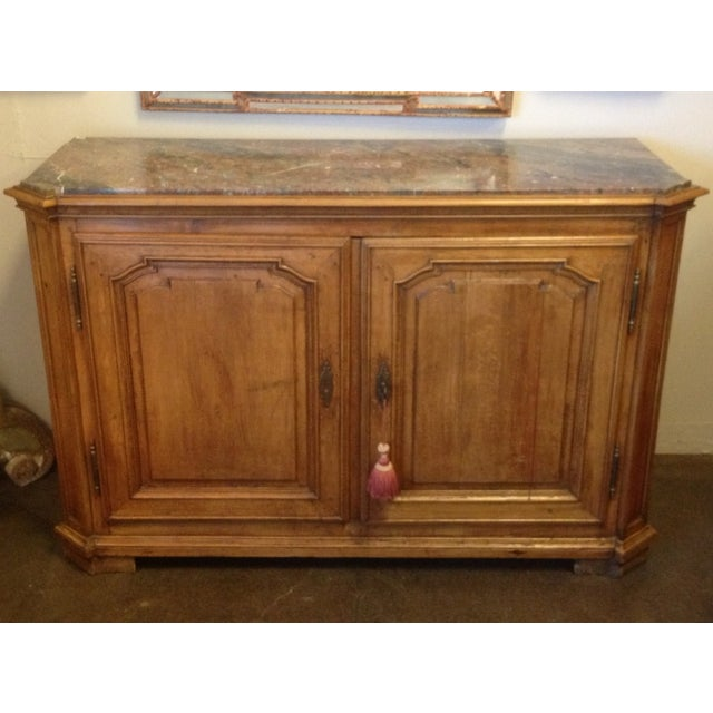Vintage Walnut Buffet With Marble Top - Image 2 of 6