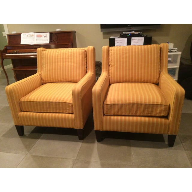crate barrel striped arm chairs a pair chairish. Black Bedroom Furniture Sets. Home Design Ideas