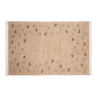 New Indian Folk Art Design Carpet - 6' X 9' For Sale