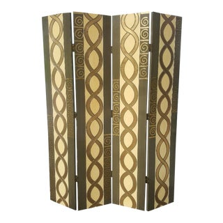 1980s Vintage Art Deco Style 4-Panel Folding Screen For Sale