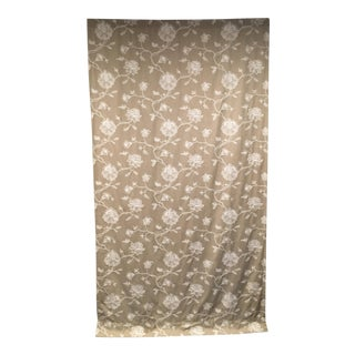 White Crewel Embroidered Beige Linen Curtain Panel
