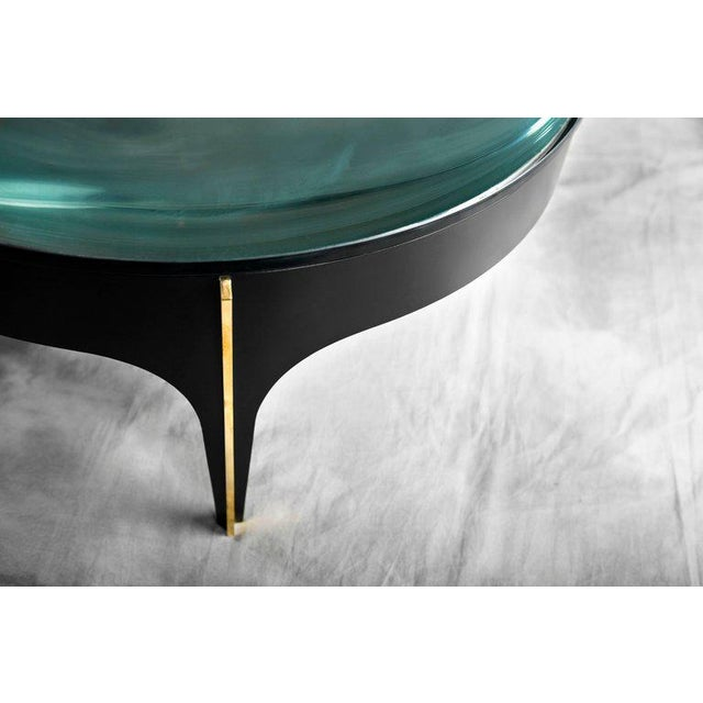 1920s Ma+39's Custom Black and Brass Magnifying Lens Coffee Table For Sale - Image 5 of 6