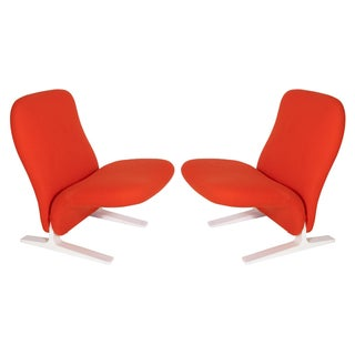 Pierre Paulin Sleigh Chairs in Vermillion Wool - Pair For Sale