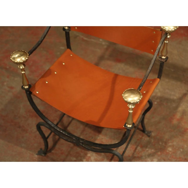 Campaign 19th Century Italian Wrought Iron, Bronze and Tan Leather Campaign Armchair For Sale - Image 3 of 9