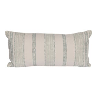 Celadon Stripe Linen Large Lumbar Pillow For Sale