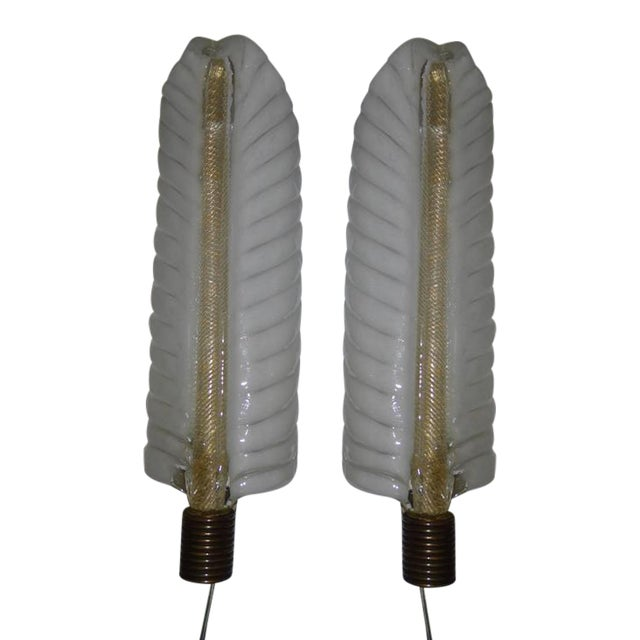 1940s Barovier e Toso Palm Leaf Sconces - a Pair For Sale