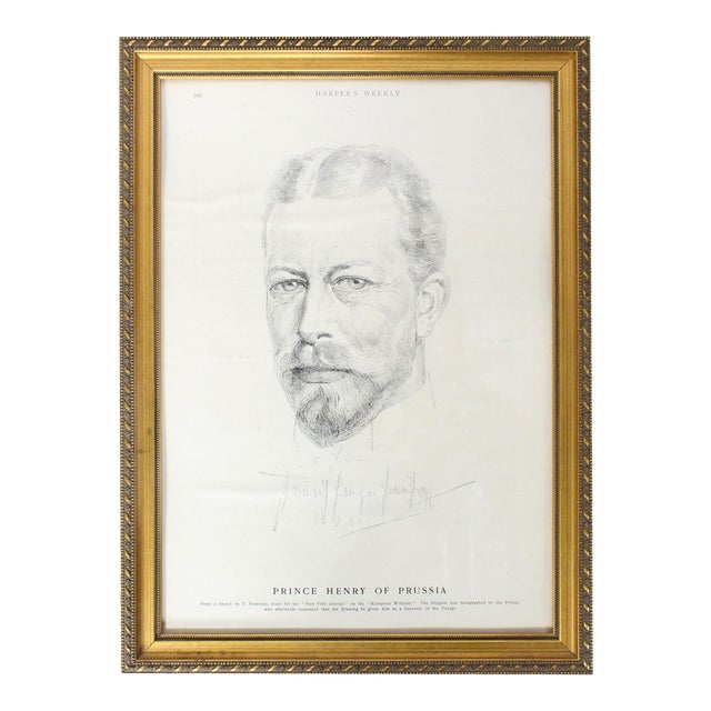 """Antique Framed Prince Henry of Prussia Page From """"Harper's Weekly,"""" 1902 For Sale"""