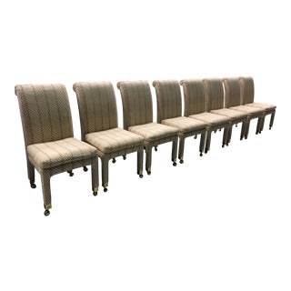 Mid-Century Mastercraft Rolling Dining Chairs on Brass Casters - Set of 8 For Sale