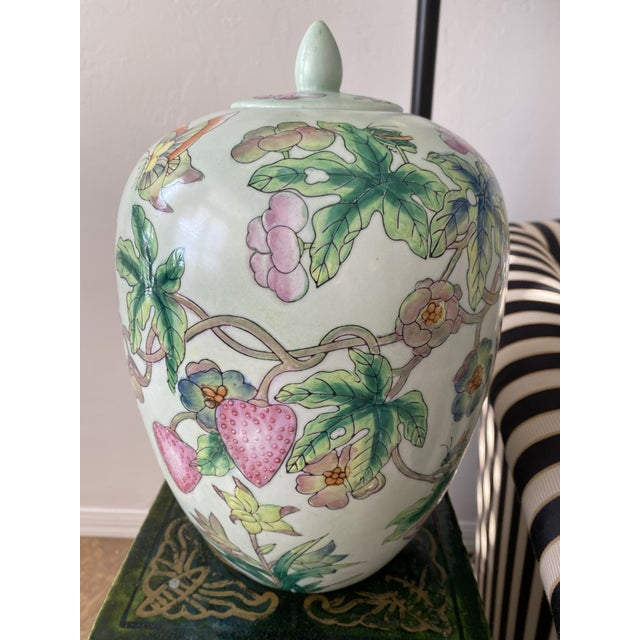 Lided Chinoiserie Strawberry and Butterfly Ginger Jar For Sale - Image 11 of 13