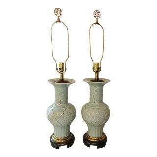 Vintage Frederick Cooper Celadon Table Lamps - a Pair