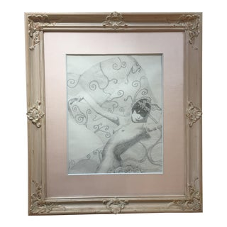 Original Art Deco Style Female Nude Pencil Drawing For Sale