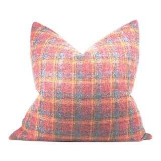 """Pink Plaid Wool Pillow 24"""" X 24"""" For Sale"""