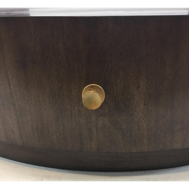 2010s Drexel Heritage Modern Walnut Finished Wood Johns Cocktail Table For Sale - Image 5 of 6