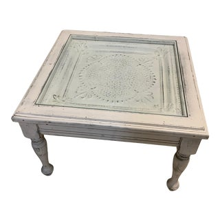 American Rustic White Side Table For Sale