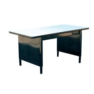 Vintage Mid-Century McDowell and Craig Black Steel Panel Leg Desk Work Table For Sale