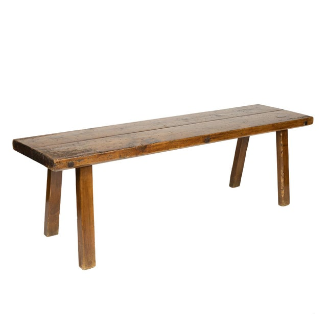 Rustic Elm Work Bench With Square Iron Pegs, English Circa 1880. For Sale - Image 13 of 13