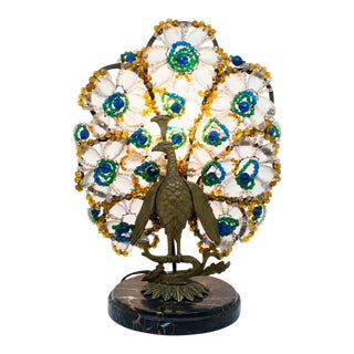 Czech Art Deco Bronze and Marble Peacock Table Lamp For Sale