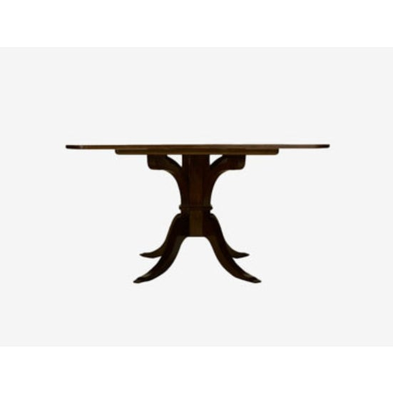 "Mahogany dining table. Features a planked top with radius corners and 4"" banding. Overall size is 84""l x 54""w x 30""h...."