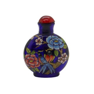 3d Birds and Flora Graphic Dark Blue Peking Glass Snuff Bottle For Sale