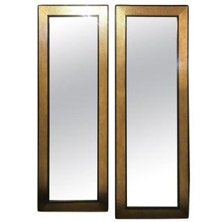 Mid-Century Modern Gold Brass Wall / Floor Mirrors - a Pair For Sale