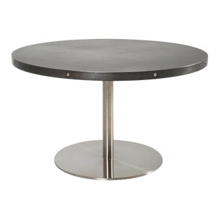 Round Zinc and Stainless Steel Dining or Kitchen Table For Sale