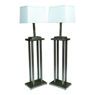 Mid Century George Kovacs Style Skyscraper Steel Architectural Floor Lamps with Shades For Sale