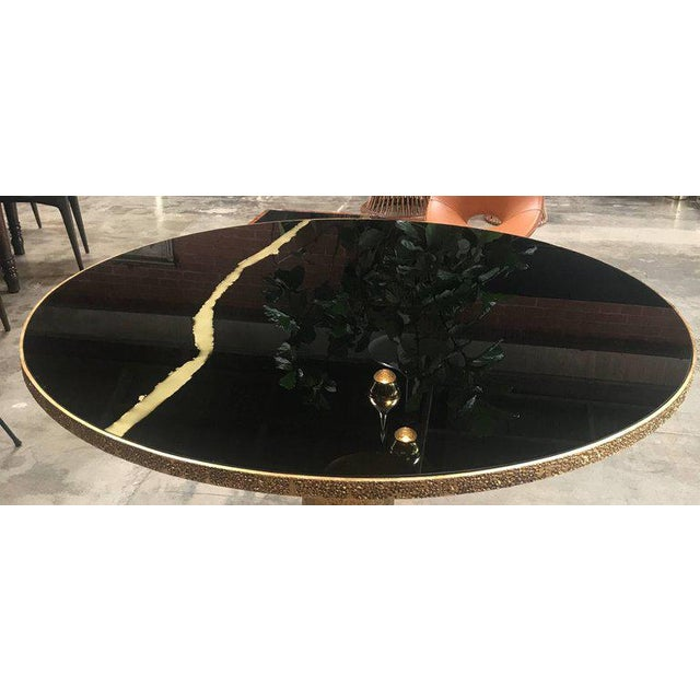 Art Glass Round Brass and Glass Dining Table, Italy For Sale - Image 7 of 8