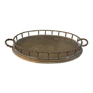 Vintage Oval Faux Bamboo Brass Tray For Sale
