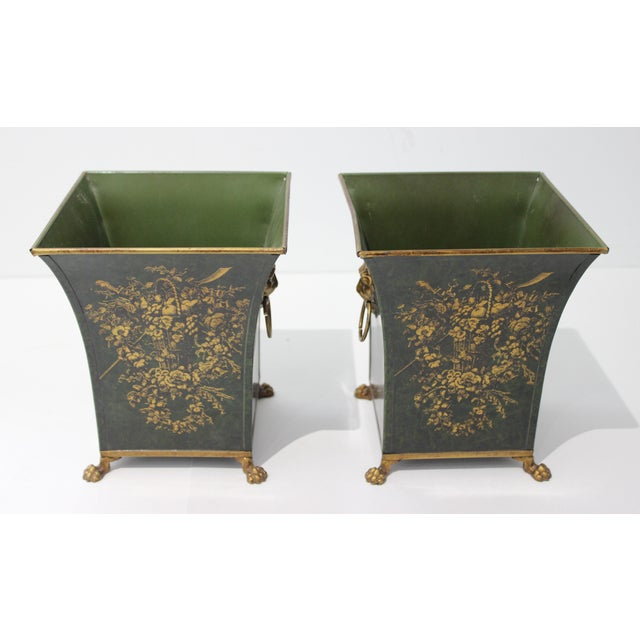 Hollywood Regency Vintage Dark Green Cachepot With Lion Handles - a Pair For Sale - Image 3 of 10