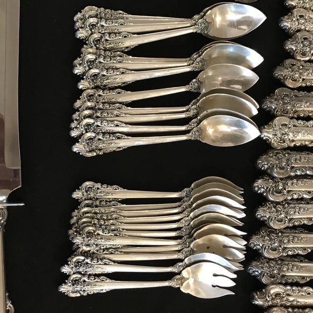 Silver Wallace Sterling Silver Grand Baroque 93 Pc Flatware For Sale - Image 8 of 11