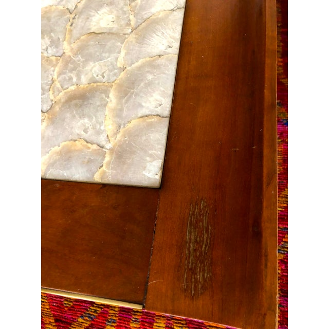 Mid-Century Hollywood Regency Teak and Mother of Pearl Square Coffee Table For Sale - Image 9 of 11