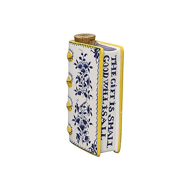 Mid 20th Century Vintage Italian Faience Book Flask For Sale - Image 5 of 5