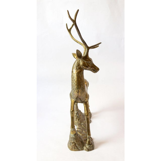 Vintage Mid-Century Statement Brass Stag Sculpture For Sale - Image 4 of 11