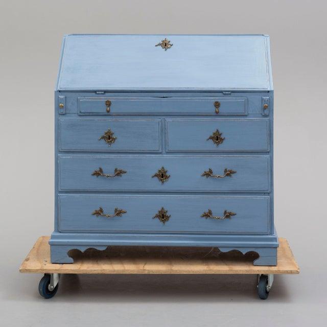 Blue 19th Century Swedish Blue Secretaire Desk For Sale - Image 8 of 10