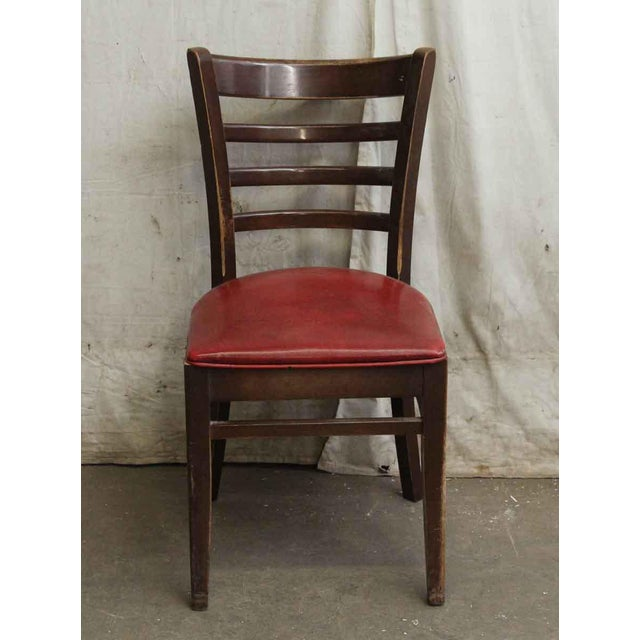 Dark Wood Red Seated Chair - Image 2 of 5