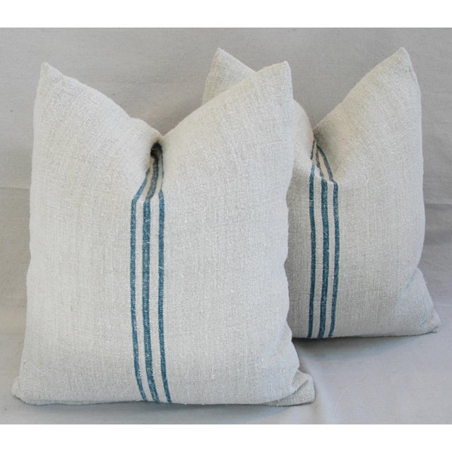 Blue Stripe French Grain Sack Pillows - Pair - Image 2 of 11