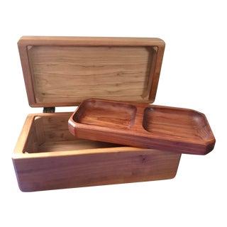 Minimalist Hand Made Wood Vanity Dresser Box For Sale