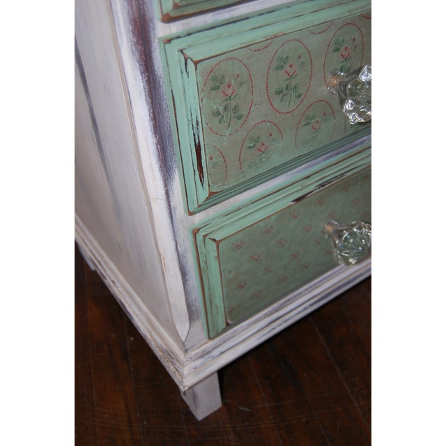 Vintage Shabby Chic Painted Green & White Dresser - Image 6 of 9