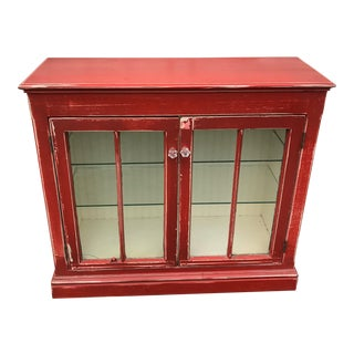 Rustic Red Beadboard Interior Cabinet For Sale
